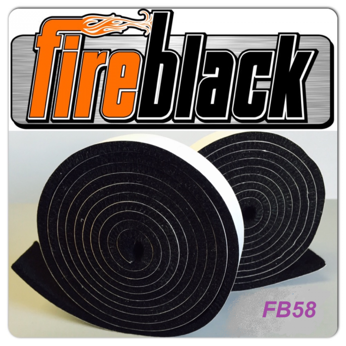 FireBlack58 BBQ smoker gasket (Self stick) - 5/8 x 1/8 x 10' - FB58