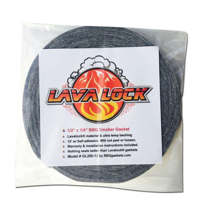 Lavalock® 1/2 x 1/4 Grey Gasket High Temp BBQ Smoker Grill Self Stick 15 ft